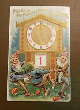 1913 NEW YEARS Postcard Embossed DANCING TROLL GNOMES Magic Mushrooms Detroit
