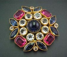 VINTAGE JOSEFF OF HOLLYWOOD PIN BOOK PIECE OPEN BACK CABOCHON MULTI COLOR BROOCH