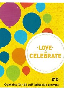 2016 Love to Celebrate Balloons Booklet of 10 x $1.00 SG SB 538