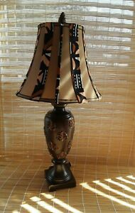 """Multicolor Decorative African Accent Mud Cloth Lamp Shade.28"""" High.12"""" Diameter."""