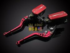 Red Clutch Brake Levers Master Cylinder Kit Reservoir For Suzuki HAYABUSA 99-07