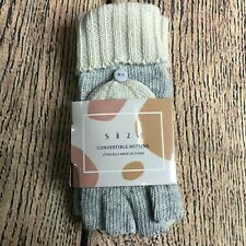 Siizu Womens One Size Gloves Cream and Gray Convertible Mittens NEW