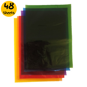 48 x A5 Assorted Coloured Cellophane Sheets - Craft Acid Free Film Stained Glass