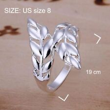 New Women Fashion Jewelry 925 Sterling Silver Size 8 Leaf Ring Thumb Finger
