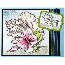 Hibiscus Flower & Conch Shell, Wood Mounted Rubber Stamp STAMPENDOUS - NEW, W171