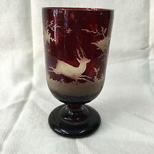 ancien verre à pied cristal de Bohême gravés thème de la chasse époque XIXème