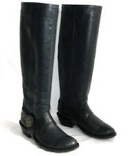 M+F GIRBAUD - Bottes cavalières biker cuir gris bleu 38 - TRES BON ETAT