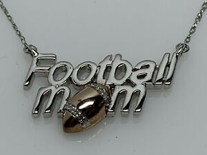 """14k White Gold-Plate Sterling Silver Diamond 18"""" FOOTBALL MOM Necklace Rose Gold"""