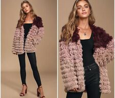 Mink Pink Faux Fur Lost Weekend Coat Size Small Pink Burgundy Jacket