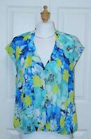 ALFANI Size 8 Short Sleeve V-Neck Multi-color Floral Print Blouse