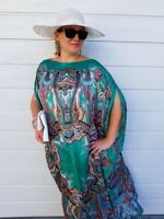 NEW Green SILK Kaftan Plus Size Maxi Beach Caftan Resort Wear