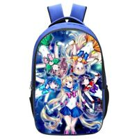 3D Print  Sailor Moon Children Backpack School Book bag Blue Double Bag