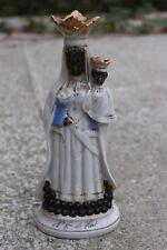 Rare Antique Vieux Paris Black Madonna Van Halle Virgin Mary Mother Porcelain