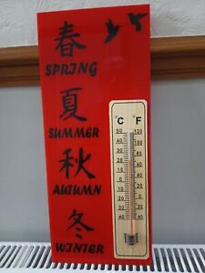 Koi Pond/Garden Sign 4 Seasons inc thermometer (red/black perspex) 350mm x 145mm