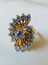 Fashion Gold Plated Fan design CZ Clear Color Ring Sz 5.5