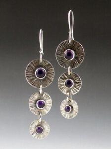 Fashion 925 Silver Round Purple Moonstone Long Ear Hook Dangle Wedding Earrings