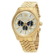 NEW AUTHENTIC MICHAEL KORS MK8494 MENS LEXINGTON YELLOW GOLD CRYSTAL PAVE WATCH