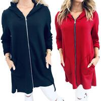 Womens Hooded Sweatshirt Long Sleeve Hoodie Zip Up Jacket Coat Sports Tunic Tops