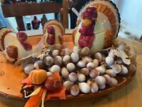 Thanksgiving Salt Pepper Soup Tureen Turkey Ceramic Platter Decor Centerpieces