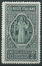 1929 REGNO MONTECASSINO 10 LIRE MNH ** - T157-2