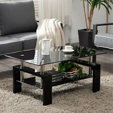 Black Highlight Glass Coffee Table End Side Table w/Shelf Living Room Furniture