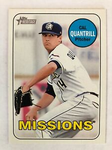Cal Quantrill 2018 Topps Heritage Minor League Missions Padres Cleveland Indians