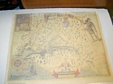 Vintage Virginia Map by john Smith Reproduction Antique Print Princeton