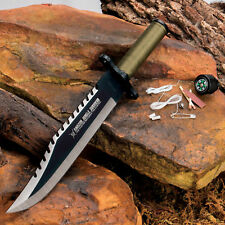 13 Tactical Survival Rambo Hunting Fixed Blade Knife Army Bowie W/ Sheath