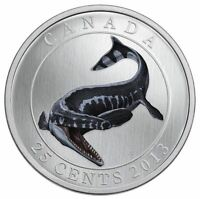 2013 CANADA 25CENT COLORED COIN - TYLOSAURUS PEMBINENSIS -Glow in The Dark