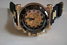 Men's  Big Heavy  Black/Gold Finish Rubber Band Elegant Fashion Inspired Watch