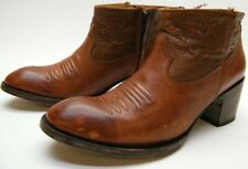 WOMENS OG BY OLD GRINGO SHORT BRN LEATHER ANKLE ZIP COWBOY WESTERN BOOTS SZ 8 B