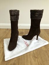 Beautifull Guess Brown Suede Boots With Fur Trim