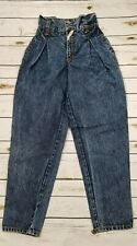 Jordache Pleated Jeans Vtg Super High Waisted Acid Wash 90's 5/6
