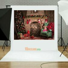 5ft Retro Christmas Fireplace Photography Backdrop Photo Studio Background Prop