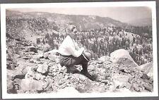 VINTAGE 1928 MAMMOTH HUNTINGTON LAKES CALIFORNIA LADY POSE ABOVE LAKE OLD PHOTO