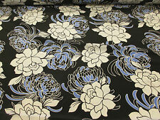 Black, Ivory/Blue Floral Crepe De Chine Printed Dress Fabric. Price Per Metre!