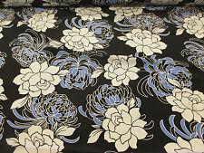 Noir, Ivoire/Bleu Motif Floral Crêpe de Chine imprimé robe de tissu. Prix Par Mètre!