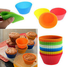 Package of 12 Reusable SILICONE CUPCAKE MUFFIN BAKING MOLDS - NEW