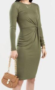 NEW Allison Twist Midi Dress Olive Green Size Small  Long Sleeve Casual BNWT