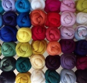 62 colours, 100% Merino Wool Tops Roving for Wet and Needle Felting, 20 - 150 g