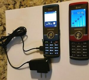 TWO WORKING Red & Blue SAMSUNG SGH-F330 vintage cellular flip AT&T phones