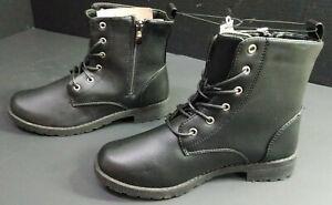 Bobbie Brooks Women's Side-Zip/Lace-Up Black Combat Boots, Vegan Leather, Size 7