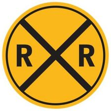 """Ande Rooney Rail Road Crossing Xing 14"""" Round Tin Sign"""