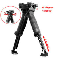 Rotating hunting Fore Grip Rifle Bipod Foldable Stand Vertical Tactical Black