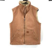 Sorel Mens Duck Canvas Sherpa Lined Vest Medium Brown Tan Full Zip 100% Cotton