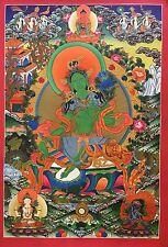 A Thangka Painting of Green Tara, Buddhist wall decor Thangka Nth5