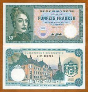 Liechtenstein, 50 Francs, 2019, Private issue, Specimen > Girl with a pendant