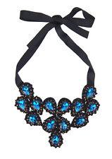 Ella Jonte Collar Statement Azul Negro Estrás Cinta Atar Centellante Piedras