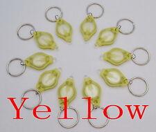 100pcs white light 22000mcd Yellow LED Flashlight Keychain Torch Key Chains New