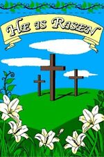 """Easter Crosses Garden Flag 24x36"""" He Is Risen Vertical Lily Lilies Sunday Cross"""